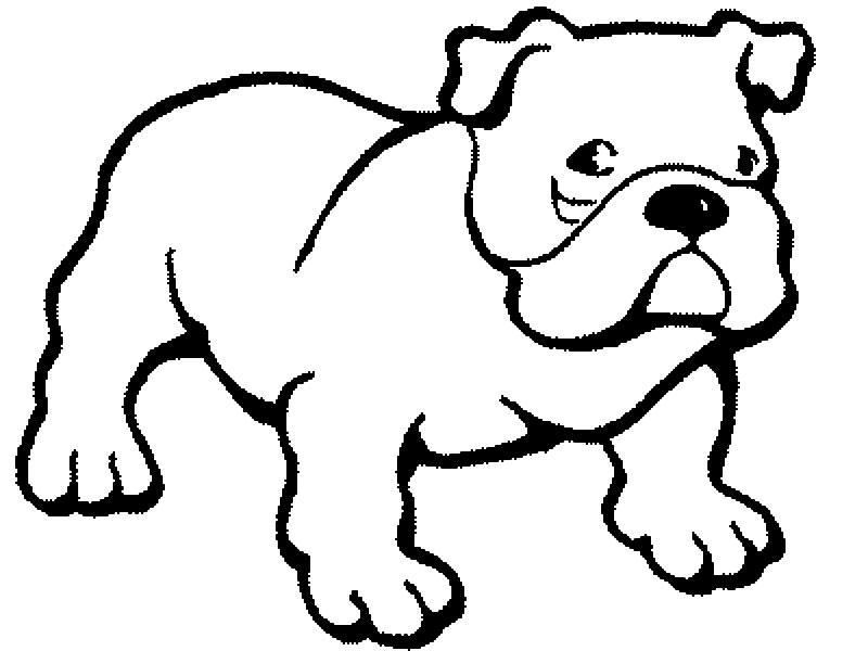 Plansa de colorat cu un bulldog