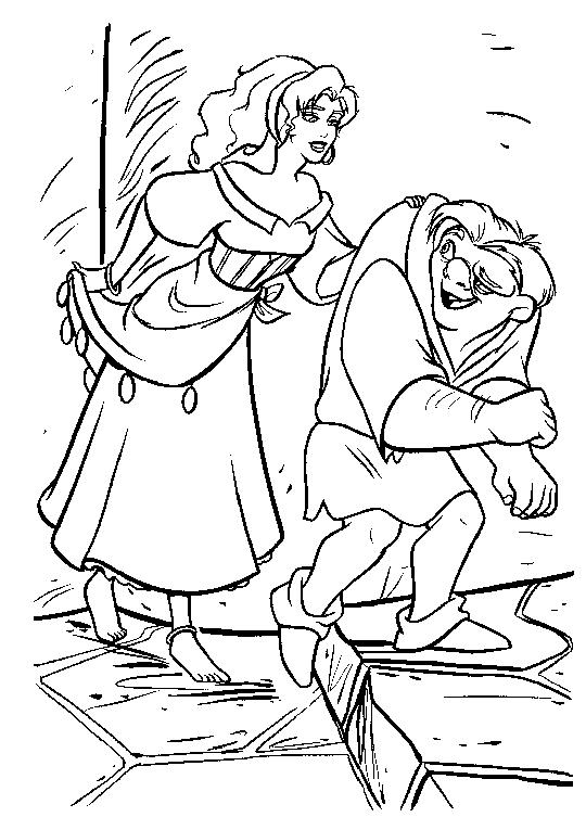 Esmeralda si Quasimodo de colorat