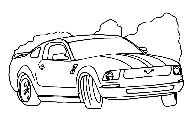 Plansa de colorat cu un Mustang