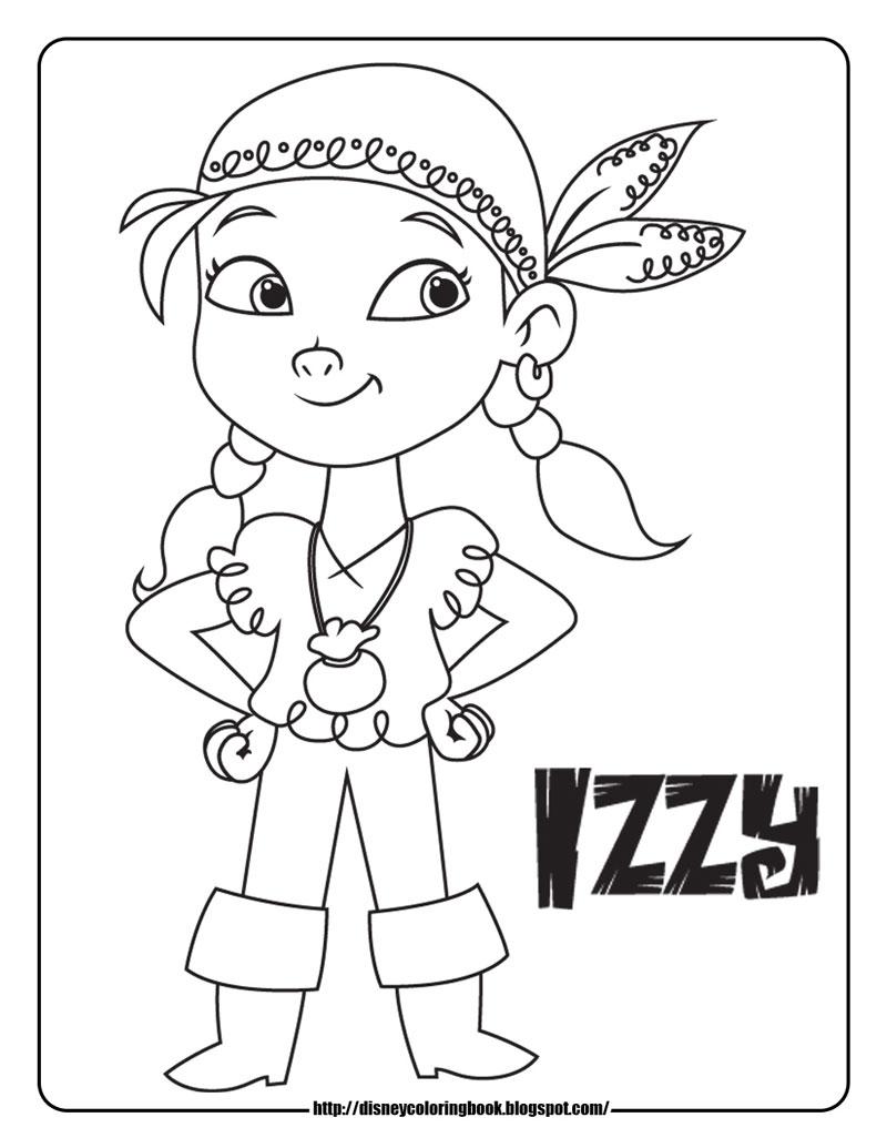 Plansa de colorat cu Izzy din Jake si piratii din Tara de Nicaieri