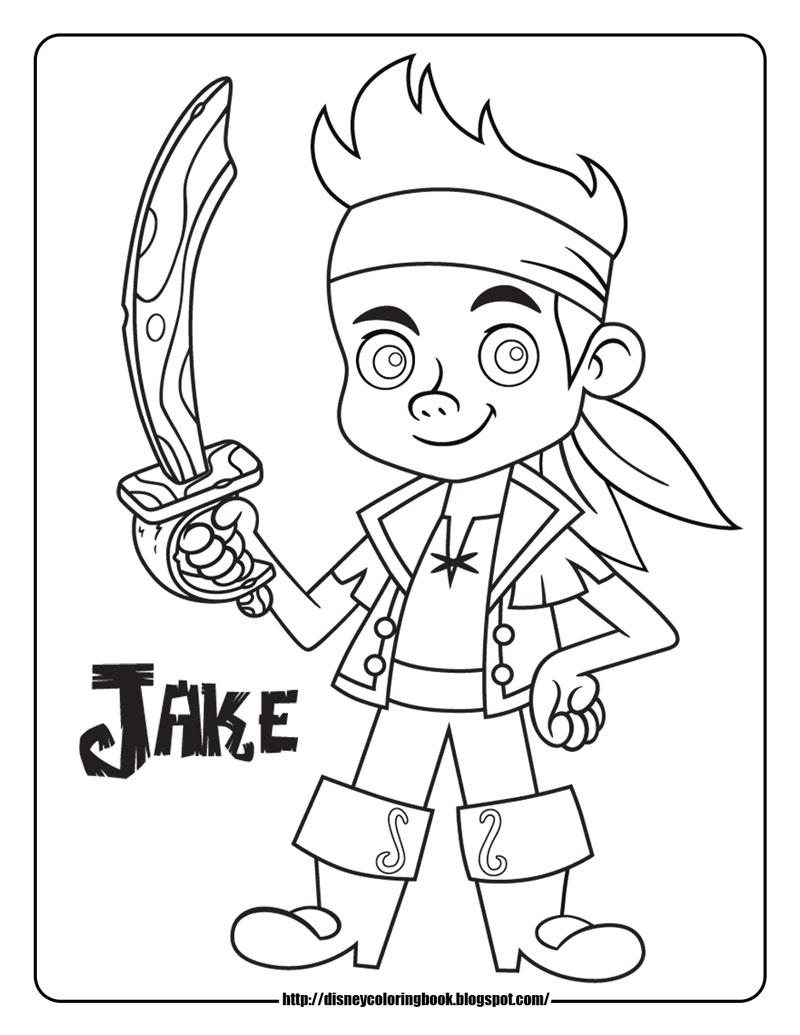 Plansa de colorat cu Jake de la Disney Junior
