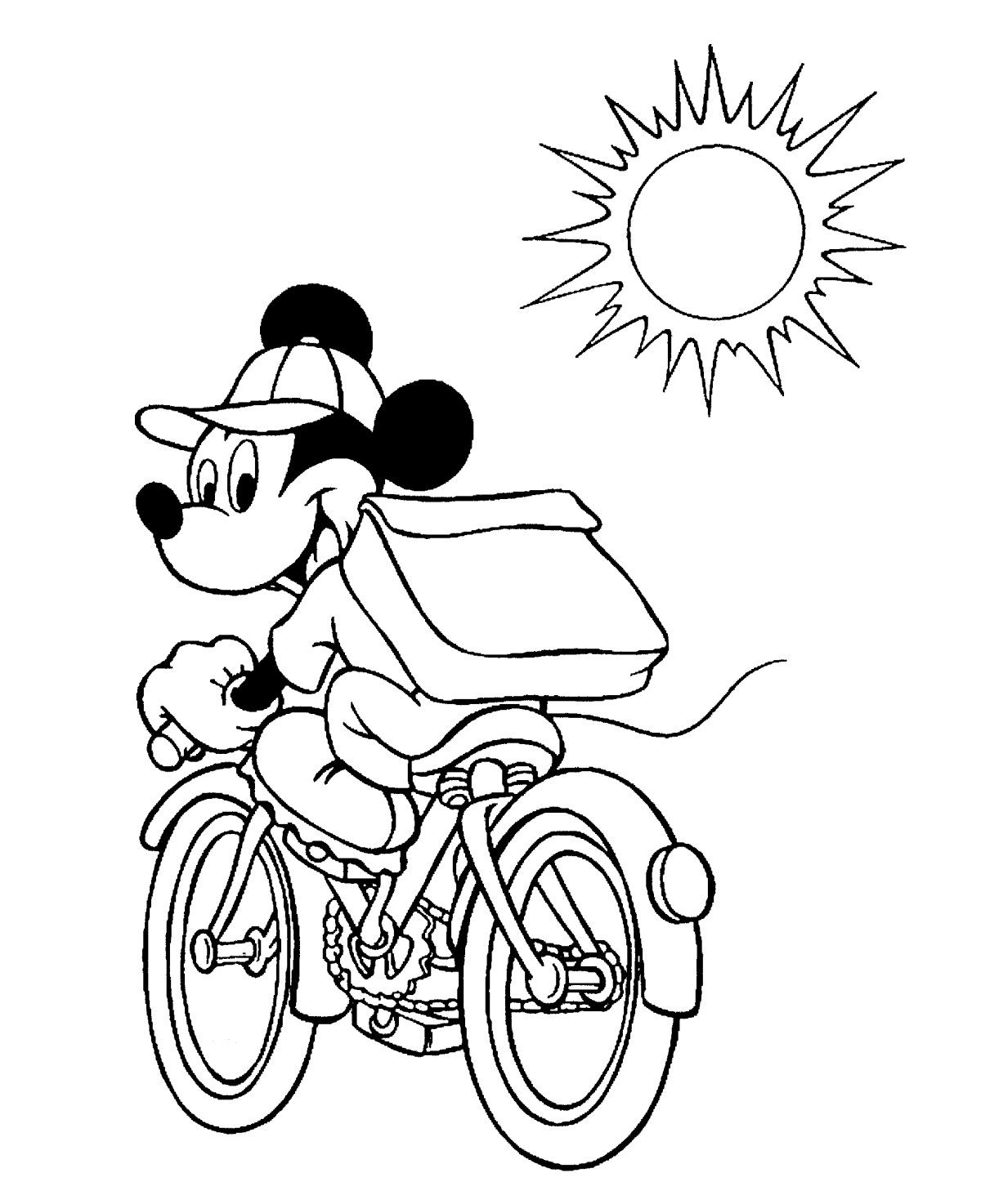 pe coloring pages - mickey mouse pe bicicleta