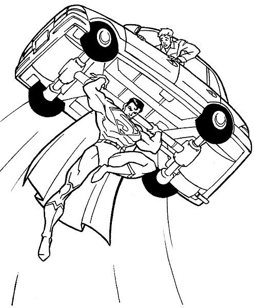 Plansa de colorat cu Superman salvatorul