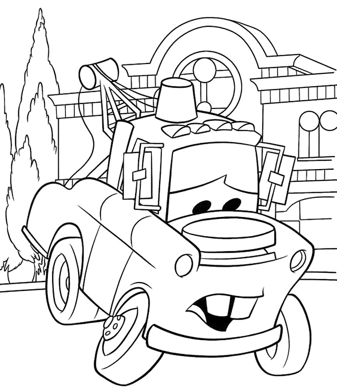 Mater coloring pages coloring pages for Coloring pages tow mater