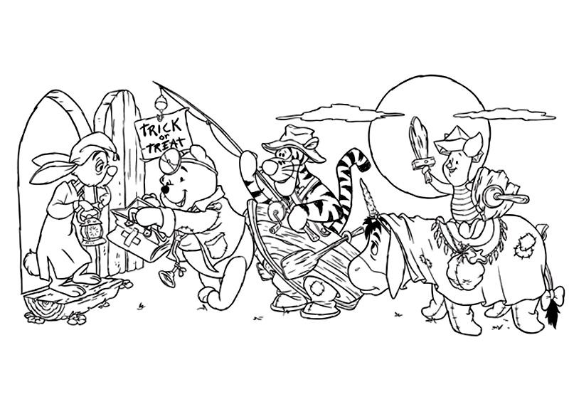 Halloween Coloreaza Aceasta Scena Din Animatia Winnie The Pooh