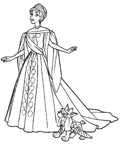 Plansa de colorat cu Anastasia si catelusul hazliu