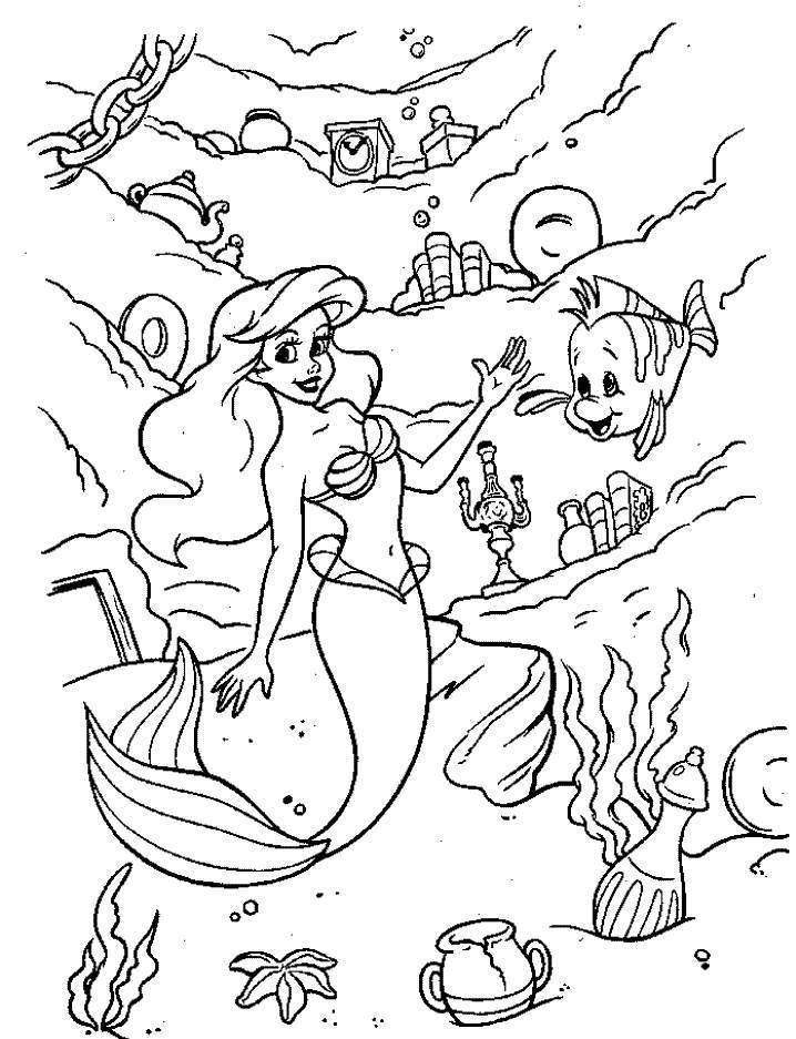 Ariel si Flounder de colorat