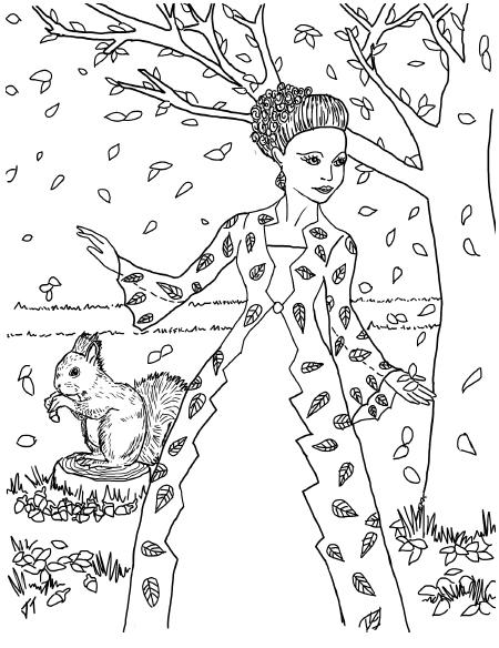 Plansa de colorat cu Printesa Toamnei