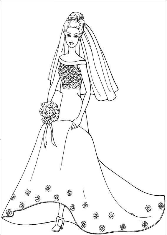 Barbie Mireasa De Colorat