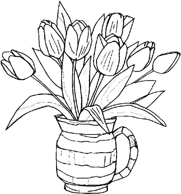 Vaza Cu Lalele De Colorat