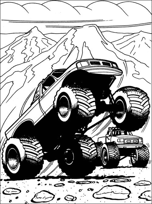 Plansa De Colorat Cu Un Camion Monstruos