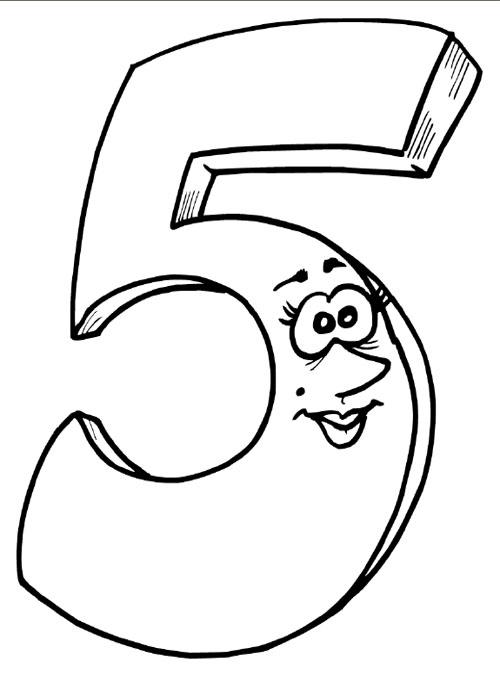 Numarul 5 de colorat