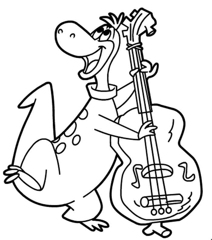 Dino la trombon de colorat