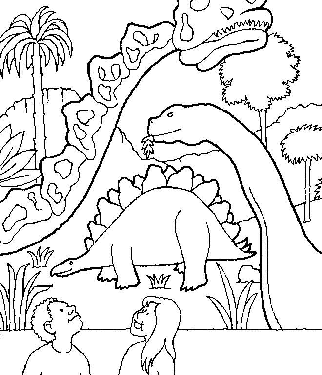 Plansa de colorat cu dinozauri