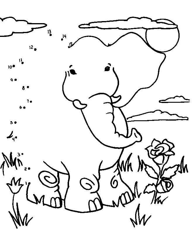 Uneste punctele si coloreaza elefantul!