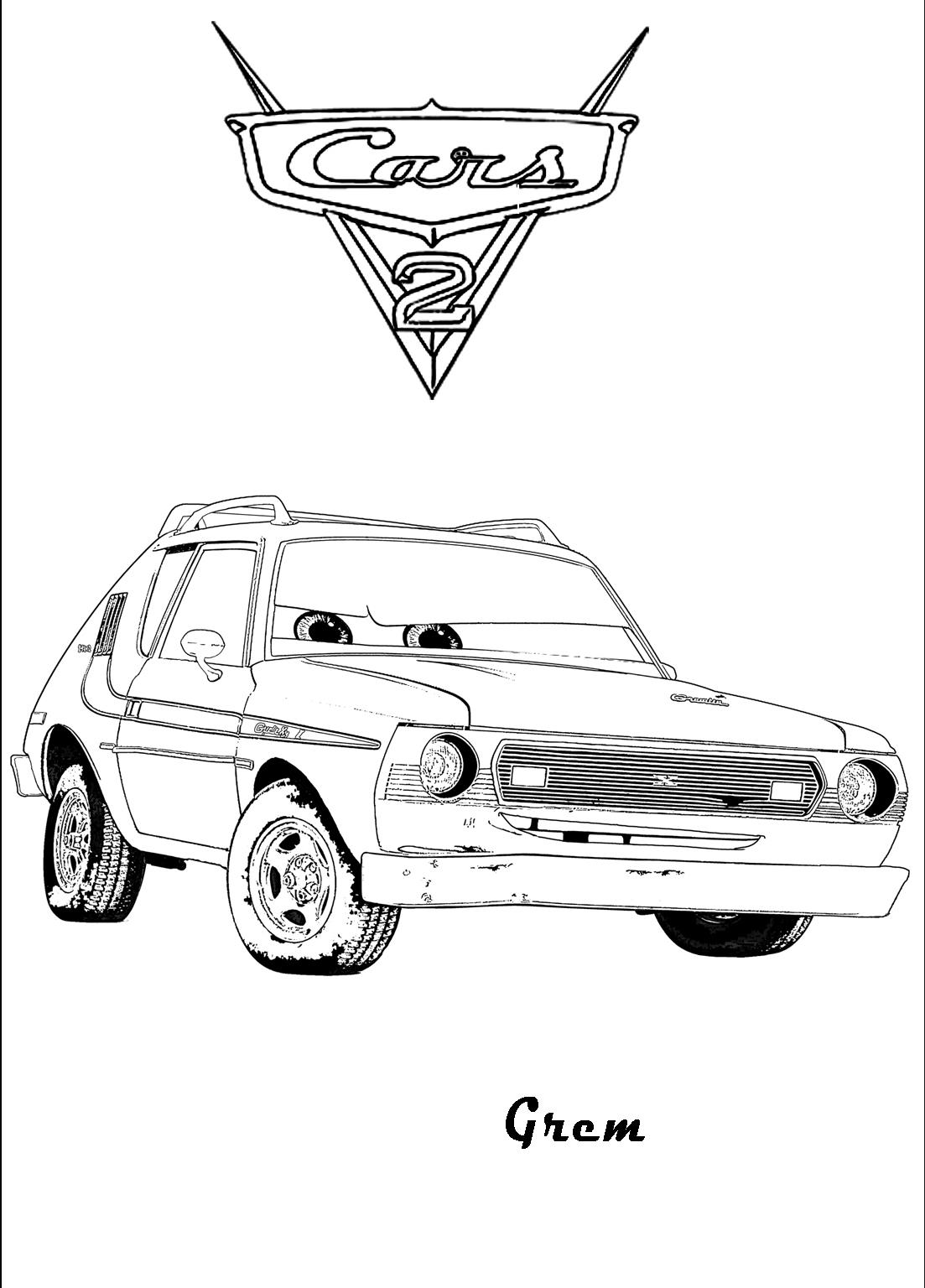 Plansa De Colorat Cu Grem Din Cars