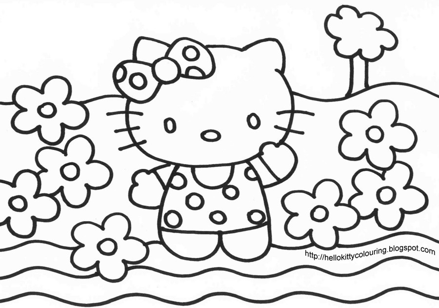 Hello Kitty Vara Printre Flori