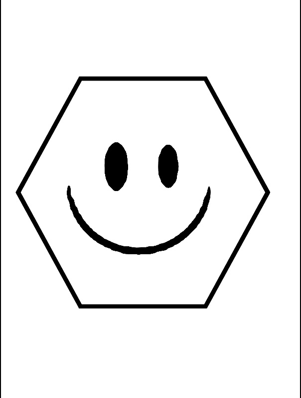 Coloreaza hexagonul care zambeste