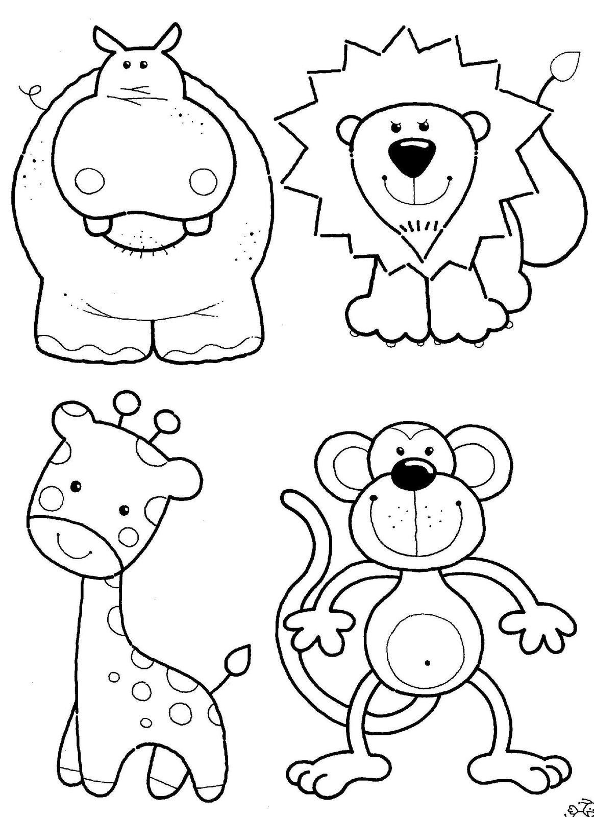 Hipopotam, leu, girafa si maimuta