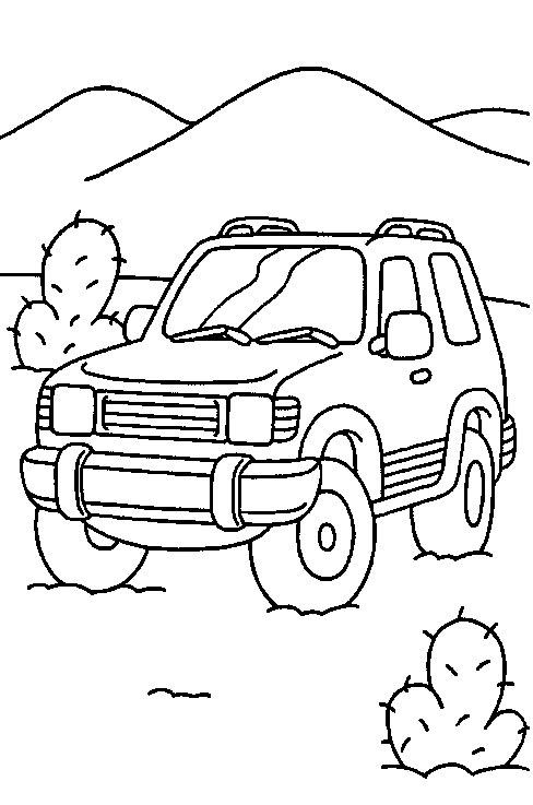 Plansa De Colorat Cu Un Jeep Printre Cactusi
