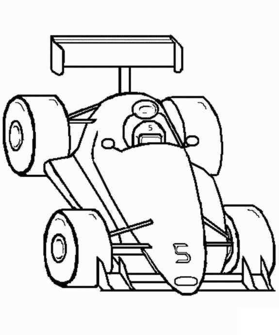Plansa de colorat cu o masina de curse