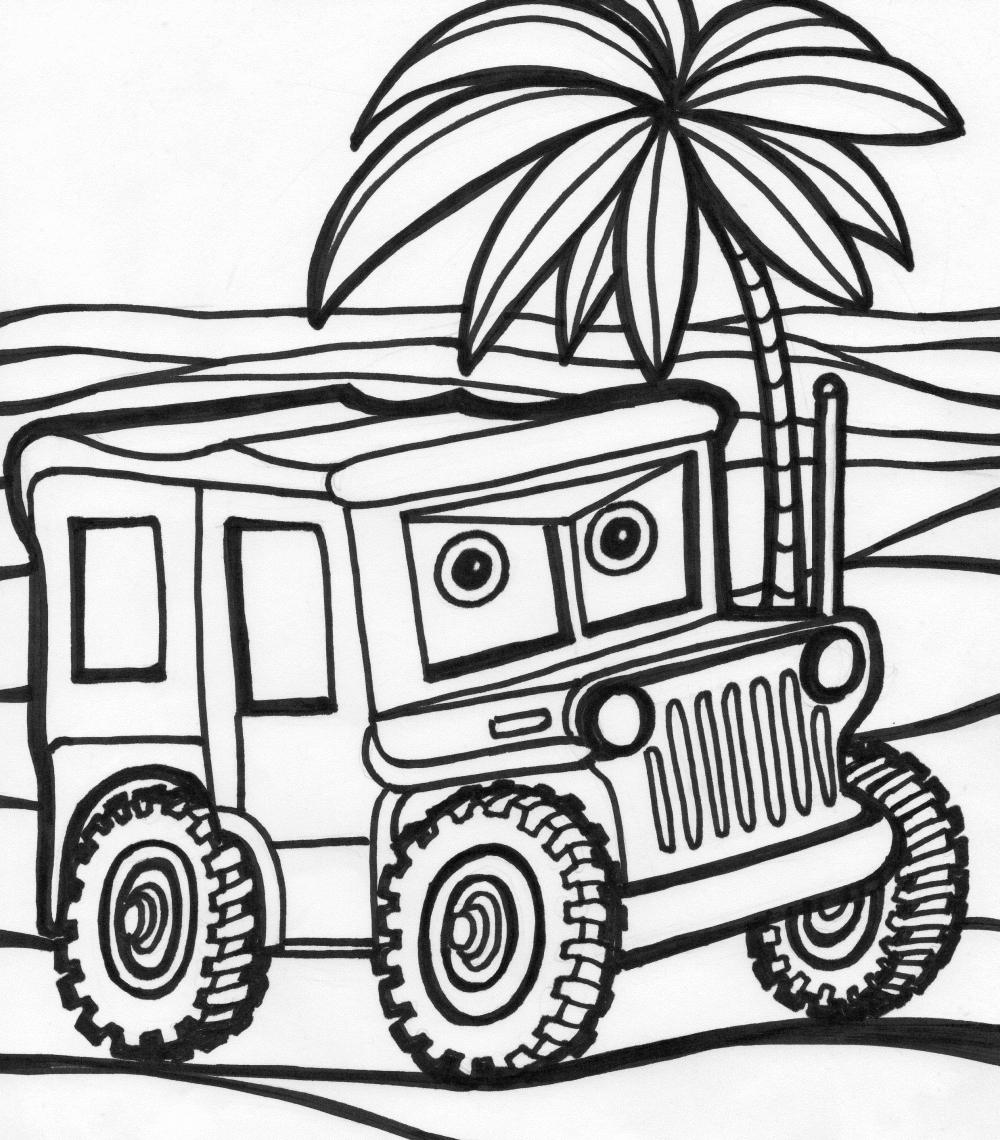 Plansa de colorat cu o masina de teren