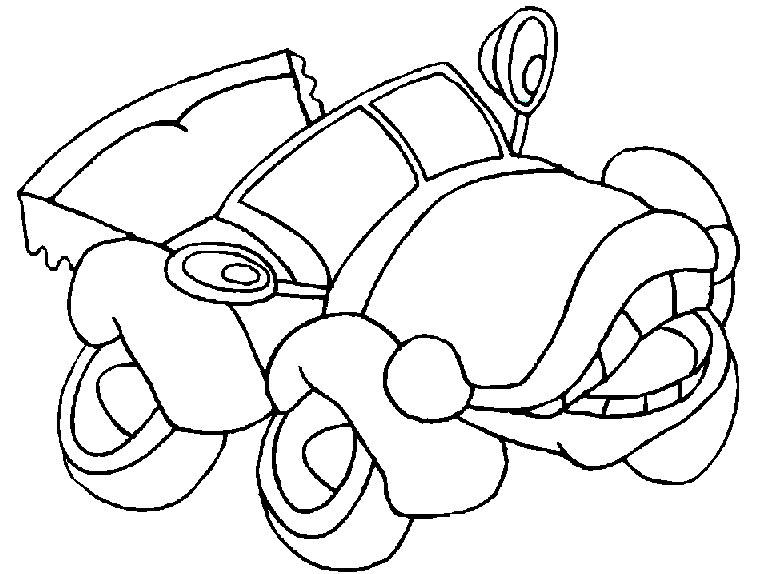 Plansa de colorat cu o masina haioasa
