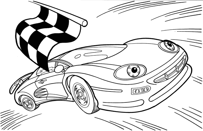 redline coloring pages | Plansa de colorat cu masina la finish