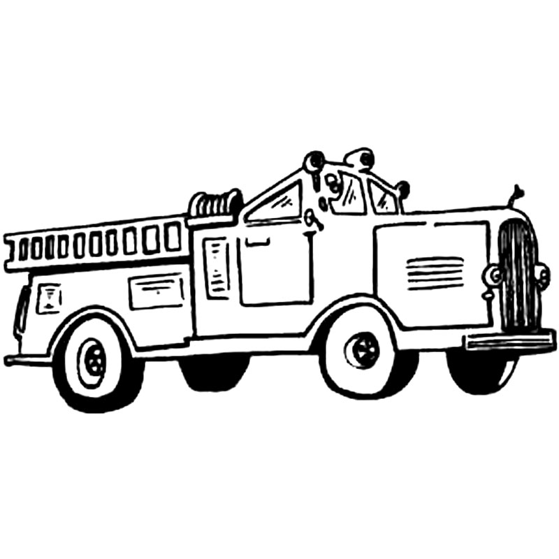 Plansa de colorat cu o masina de pompieri