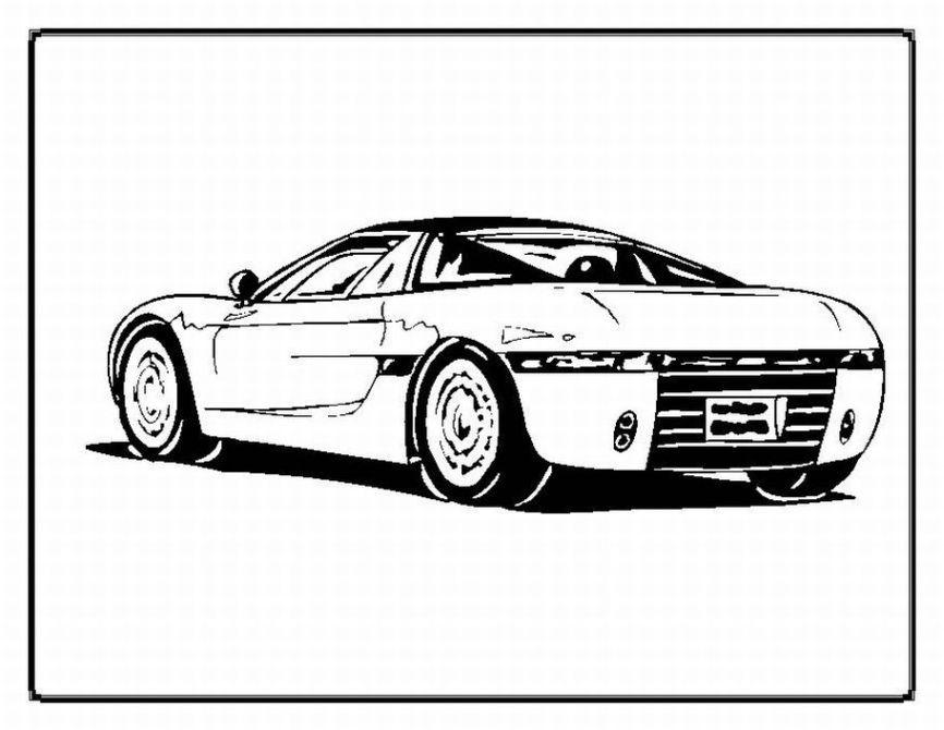 Plansa de colorat cu o masina sport