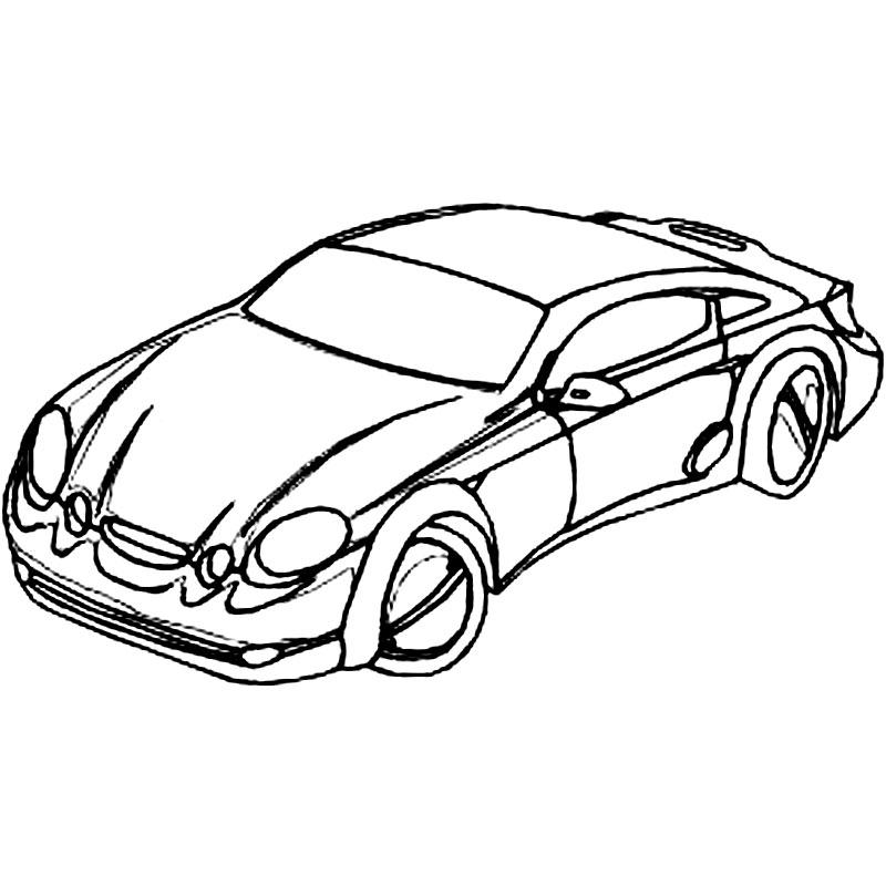 Plansa de colorat cu o masina Mercedes Sport
