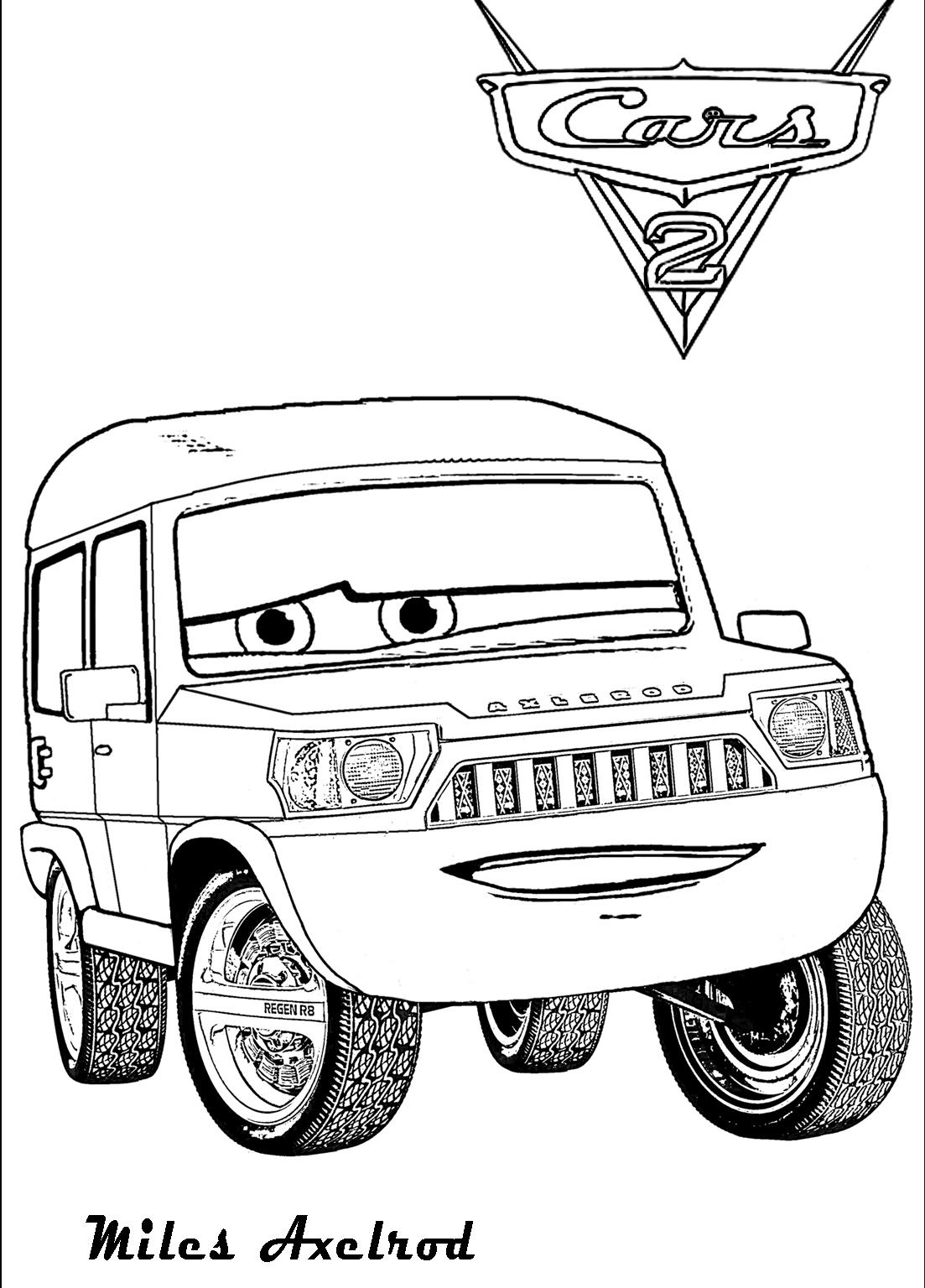 Plansa de colorat cu Miles Axelrod din Cars