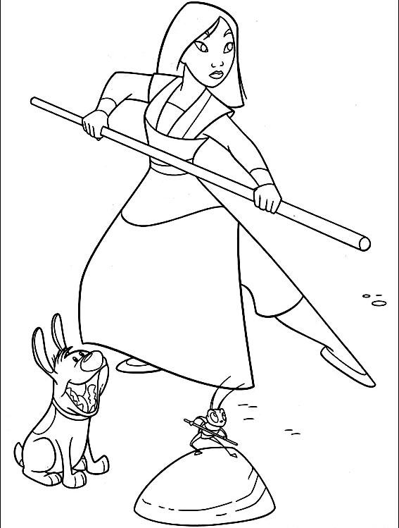 Plansa De Colorat Cu Mulan Razboinica