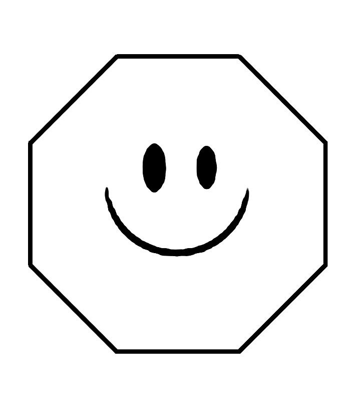 Coloreaza octogonul care zambeste