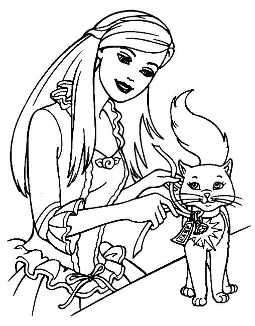 Pisica Si Barbie De Colorat