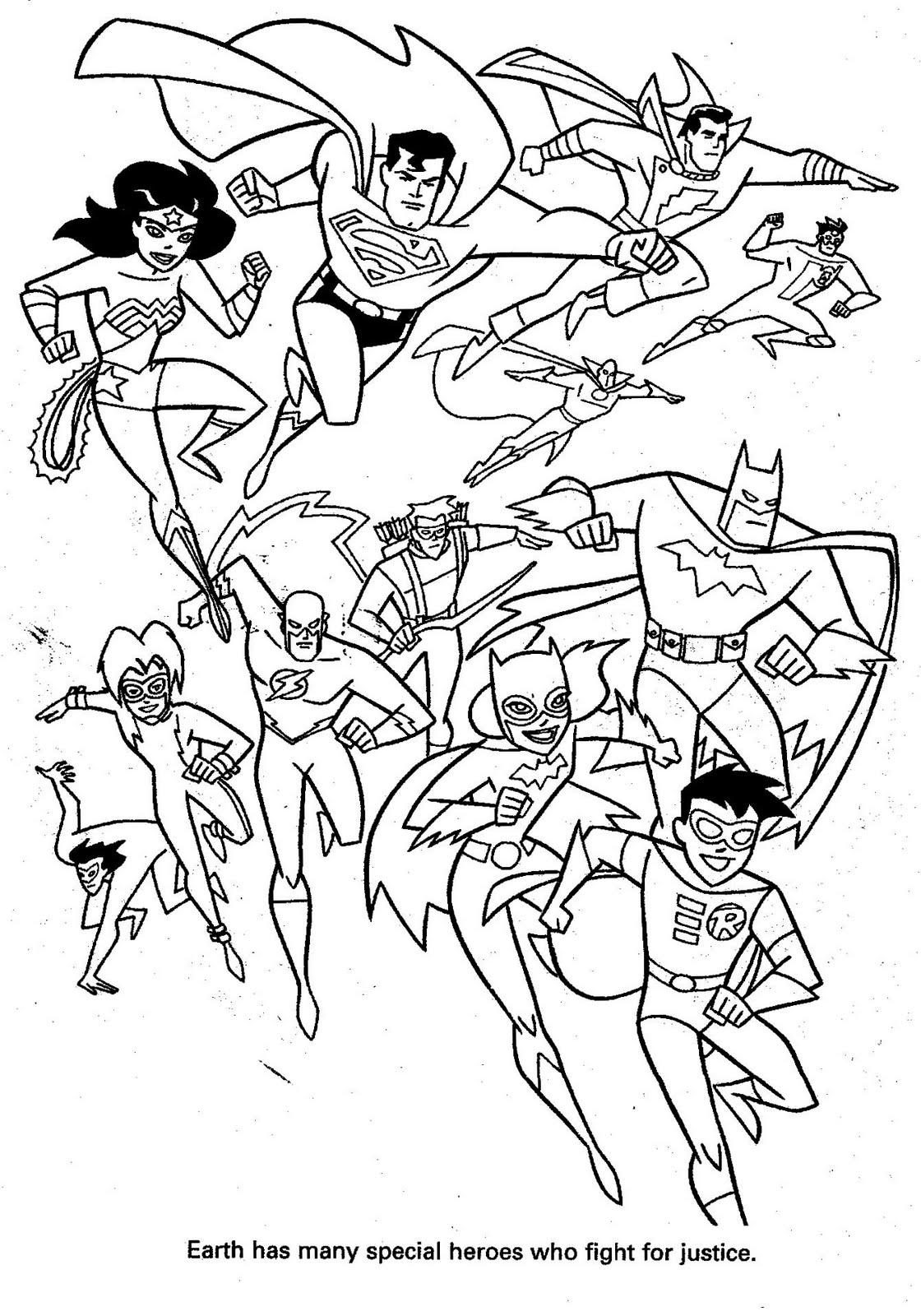 Plansa de colorat cu supereroi