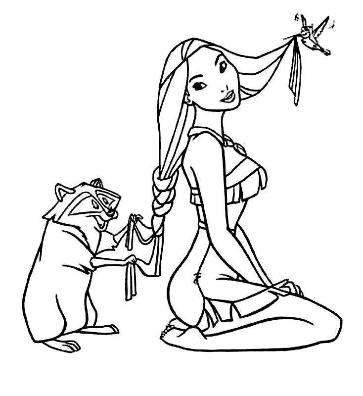 Pocahontas Si Animalele De Colorat