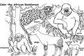 Plansa de colorat cu animalele din Africa