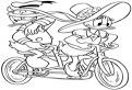 Daisy si Donald Duck pe bicicleta