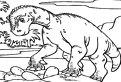 Plansa de colorat cu un dinozaur imens