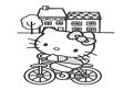 Hello Kitty pe bicicleta