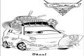 Plansa de colorat cu Okuni din Cars