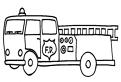 Plansa de colorat cu masina pompierilor