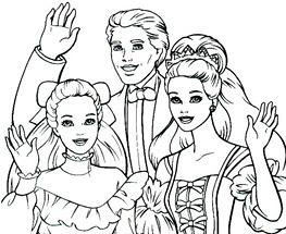 Plansa de colorat cu Barbie, Ken si sora lui Barbie