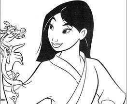 Plansa de colorat cu Mulan si Dragonul