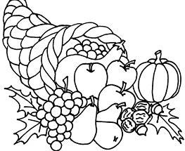Plansa de colorat cu cornul abundentei