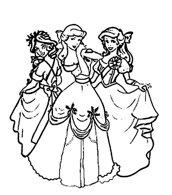 Trei Printese Disney De Colorat
