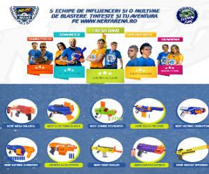 Prima competitie NERF ARENA din Romania! Sustine-ti echipa preferata si castiga cele mai cool blastere NERF!