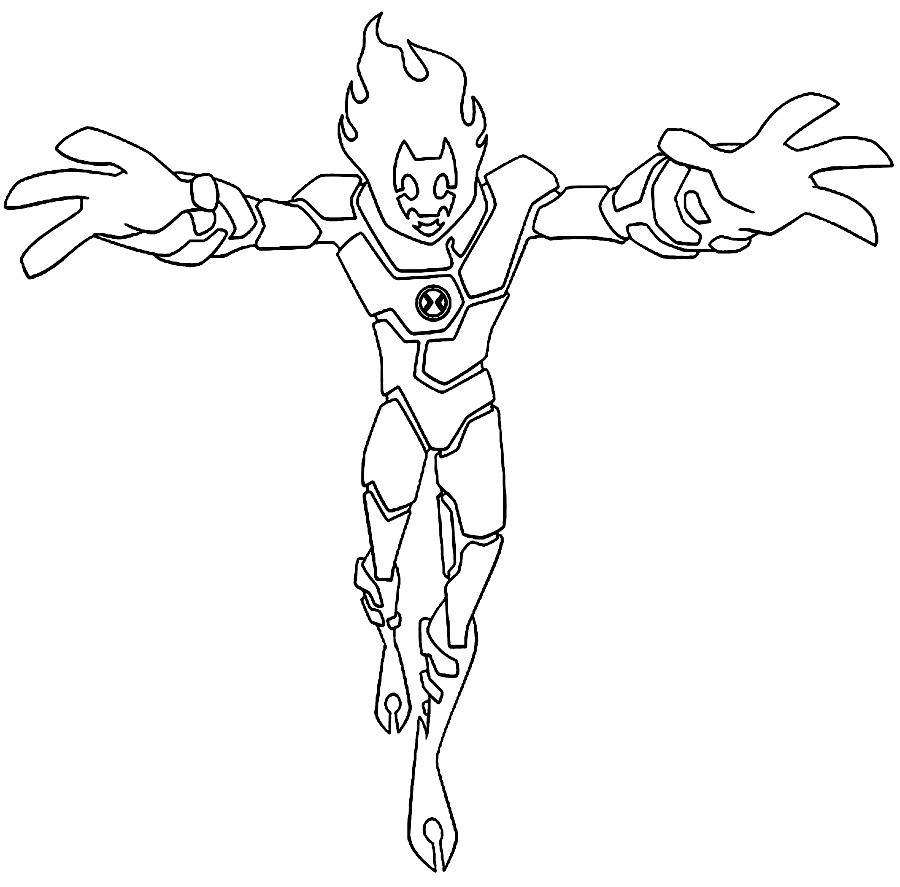Ben 10 Heatblast Coloring Pages Sketch Coloring Page