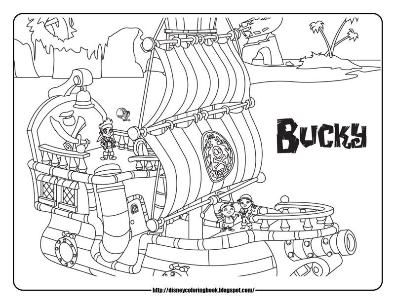Plansa de colorat cu Jake si piratii din Tara de Nicaieri